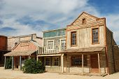 stock photo of gunfights  - Wooden buildings in an old American western town - JPG