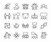 Vector Thin Line Icon Illustration Set. Teamwork And People Interacting, Communicating And Working T poster