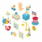 Election Voting Icons Set. Isometric Illustration Of 16 Election Voting Icons Set Vector Icons For W poster