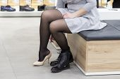 Постер, плакат: Girl In Shoe Store Trying On New Shoes Buy Shoes In Fashion Boutique Shopping Shoes Dress Shoes I