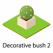 Round Bush Icon. Isometric Illustration Of Round Bush Vector Icon For Web poster