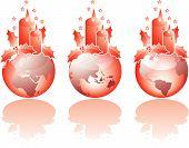 Three Christmas Glass World Views