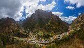 Mountain village Serra de Aqua in Madeira Portugal - travel background poster