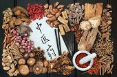 Chinese acupuncture needles and moxa sticks with traditional herbs used in herbal medicine on dark w poster