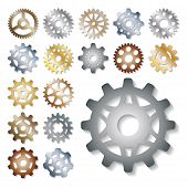 Gear Icons Vector Illustration Mechanics Gearing Web Development Shape Work Cog Sign. Engine Wheel E poster