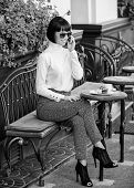 Girl Fashionable Lady With Smartphone. Pleasant Time And Leisure. Relax And Coffee Break. Woman Attr poster