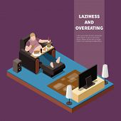 Overweight Lazy Man Suffering From Gluttony Eating And Drinking In Front Of Tv 3d Isometric Vector I poster