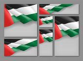 United Arab Emirates Patriotic Festive Banners Set. Realistic Waving Arabic Flag On Grey Background. poster