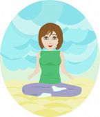 Silhouette Illustration Of A Woman Figure Doing Meditation