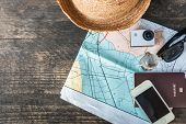 Travel Plan, Trip Vacation Accessories For Trip, Tourism Mockup - Outfit Of Traveler On Wooden Backg poster