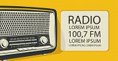 Vector Banner For Radio Station With An Old Radio Receiver And Place For Text In Retro Style. Radio  poster