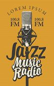 Vector Banner For Radio Station With Studio Microphone And Inscription Jazz Music Radio. Radio Broad poster