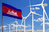 Cambodia Alternative Energy, Wind Energy Industrial Concept With Windmills And Flag - Alternative Re poster