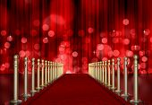 Red Carpet ingang met rood licht barstte Over gordijn