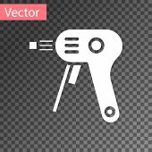 White Electric Hot Glue Gun Icon Isolated On Transparent Background. Hot Pistol Glue. Hot Repair Wor poster