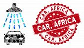 Collage Car Shower And Rubber Stamp Seal With Car, Africa Text. Mosaic Vector Is Designed With Car S poster