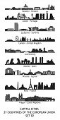 skyline of the capital cities of the european union - set 02