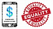 Collage Dollar Mobile Wallet And Rubber Stamp Seal With Equality Caption. Mosaic Vector Is Created W poster