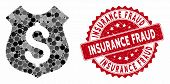 Mosaic Guard Price And Rubber Stamp Seal With Insurance Fraud Phrase. Mosaic Vector Is Designed With poster