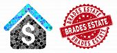 Mosaic Loan Mortgage And Grunge Stamp Seal With Brades Estate Caption. Mosaic Vector Is Designed Fro poster