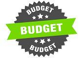 Budget Sign. Budget Green-black Circular Band Label poster