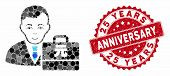 Mosaic Yuan Renminbi Accounter And Distressed Stamp Seal With 25 Years Anniversary Caption. Mosaic V poster