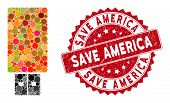 Mosaic Usb Flash Drive And Corroded Stamp Watermark With Save America Phrase. Mosaic Vector Is Desig poster