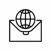 Black Line Icon For  International-businees International  Globalization Businees  Global-business poster