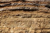 Geological layers of earth - layered rock. Close-up of sedimentary rock in Iceland, Europe poster