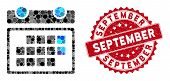 Collage Month Calendar And Grunge Stamp Seal With September Phrase. Mosaic Vector Is Formed With Mon poster