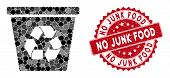 Mosaic Recycle Bin And Rubber Stamp Seal With No Junk Food Text. Mosaic Vector Is Designed With Recy poster