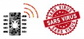 Mosaic Hardware Bug And Grunge Stamp Seal With Sars Virus Text. Mosaic Vector Is Composed With Hardw poster