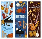 Music Instruments, Live Folk Band Festival, Jazz And Orchestra Concert Banners. Vector Stringed And  poster