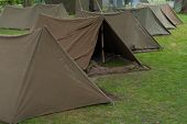 image of stockade  - small military tents for two soldiers in a row - JPG