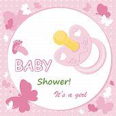 Cartão do anúncio do bebê menina