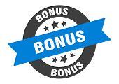 Bonus Sign. Bonus Blue-black Round Ribbon Sticker poster