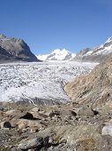 Aletsch Glacier In The Bernese Alps In Valais Switzerland