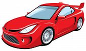 Red sports car, my own car design.