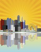 Singapore City Skyline With Sun Rays Illustration