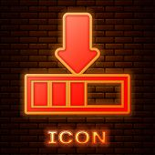 Glowing Neon Loading Icon Isolated On Brick Wall Background. Download In Progress. Progress Bar Icon poster