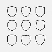 Simple Security Icon Set In Linear Style, Shield Linear Icon Set, Vector Simple Shield Icon Set, Fil poster