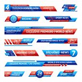 Breaking News Television Channel Broadcasting Set Of Isolated Solid Plates For Vfx Bars With Editabl poster