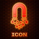 Glowing Neon Magnet With Money Icon Isolated On Brick Wall Background. Concept Of Attracting Investm poster