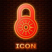 Glowing Neon Safe Combination Lock Wheel Icon Isolated On Brick Wall Background. Combination Padlock poster