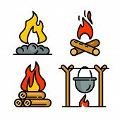 Campfire Icons Set. Outline Set Of Campfire Vector Icons For Web Design Isolated On White Background poster