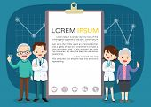 Doctor And Elderly Healthcare Clipboard Background Poster.doctor For Elderly Patients Banner poster