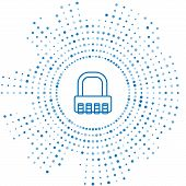 Blue Line Safe Combination Lock Icon Isolated On White Background. Combination Padlock. Security, Sa poster