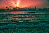 Beautiful Sunrise Over The Caribbean Sea. Taken On A Cloudy Morning In Early November In Cancun, Mex poster