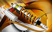 picture of mechanical engineering  - Digital illustration of Shock absorber in colour background - JPG
