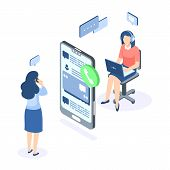 Customer Support Isometric Concept. Call Center Help Web Banner. Online Service Help Assistance. Vec poster
